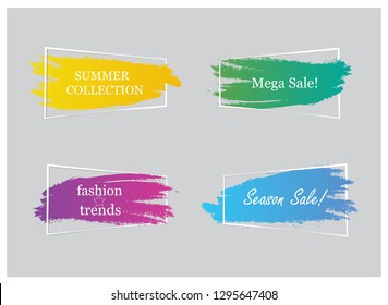 Trendy banner flat design set isolated on gray background. Banner for web site, design template, label, sticker and badge. Useful for placard, cards and poster. Modern collection of creative banners