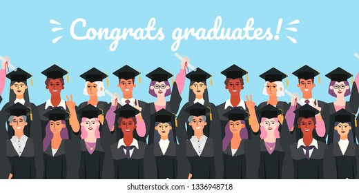 Trendy banner, landing page or flyer concept. Seamless vector illustration of a group of graduate students with their diplomas on a blue background with a greeting at the top.