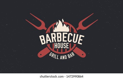 Trendy barbecue BBQ grill logo template. Vintage barbecue logo with grill fork. Retro poster for steakhouse, restaurant. Vector illustration