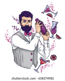 trendy bartender making glamour cocktails, can be used as poster for lady's night party, vector illustration