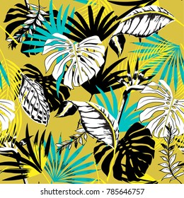 Trendy Beautiful seamless vector triopical summer pattern background with  palm leaves. Perfect for wallpapers, web page backgrounds, surface textures, textile on yellow