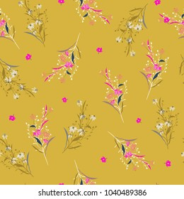 Trendy Beautiful summer bright garden Floral pattern in the many kind of flowers. Tropical botanical  For fashion prints. Printing with in hand drawn style yellow background.