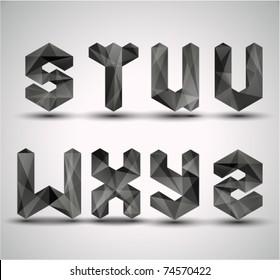 Trendy Black Fractal Geometric Alphabet. STUVWXYZ, Vector Illustration.