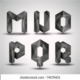 Trendy Black Fractal Geometric Alphabet. MNOPQR, Vector Illustration.