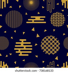 Trendy black and golden festive pattern. Seamless vector background with Japanese, Chinese, Korean motifs. Modern composition with ornate circles and different geometric shapes.