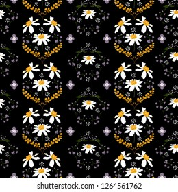 Trendy of blooming daisy flower and wild floral seamless pattern in vector regular repeat design for fashion,fabric,wallpapper,web, and all prints on black color
