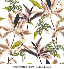 Trendy botanical leaves in the forest seamless pattern vector design for fashion,fabric,wallpaper, and all prints on white color background color