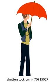 trendy boy with umbrella