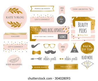 Trendy Branding Blog Kit Icons. Website Symbols and Icons.
