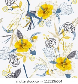 Trendy Bright Artistic tropical fresh yellow flower pattern on sketch line dash seamless pattern vector on white background vector