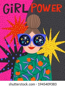 Trendy Bright and Colorful Illustration  with a Girl with Star Sunglasses on an Ornamental Background. Girl Power Illustration with Hand Drawn Lettering.