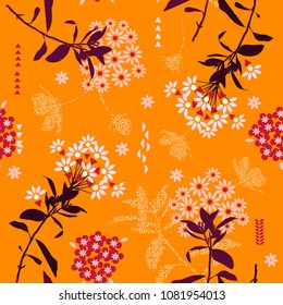 Trendy and bright geometric flower mix with garden leaf in the garden ,colorful mood for fashion fabric,wallpaper and all prints on orange background.