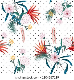 Trendy and bright tropical jungle and blooming florals mix with trendy small polkadot ,seamless pattern in vector for fashion fabric and all prints on white background.