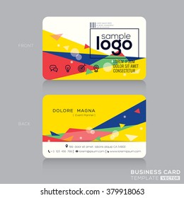 trendy business card design template with Post modernism background