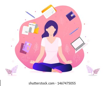 Trendy business yoga concept vector. Office meditation, self-improvement, controlling mind and emotions, zen relax concentration yoga practice. Girl is sitting in a lotus position.