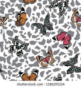 Trendy  butterflies flying on animal leopard skin seamless pattern ,vector design for fashion,fabric,wallpaper,and all prints on lihgt grey color background