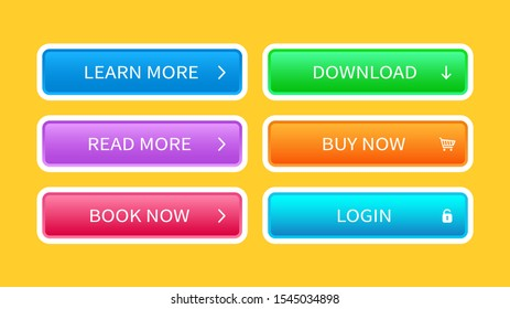 Trendy buttons set for website design. Vector web elements for design. Modern different colorful buttons for interface, mobile apps, ui, software and games.