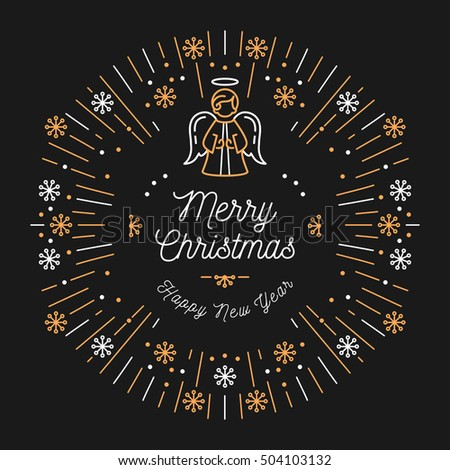 trendy card merry christmas and happy new year minimal design art deco christmas angel