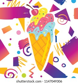Trendy card prind design with cute tasty sweet ice cream on hipster memphis style background pattern. Cartoon style design concept