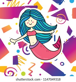 Trendy card prind design with cute fantasy mermaid on hipster memphis style background pattern. Cartoon style design concept