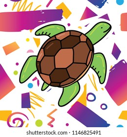 Trendy card prind design with sealife turtle on hipster memphis style background pattern. Cartoon style design concept