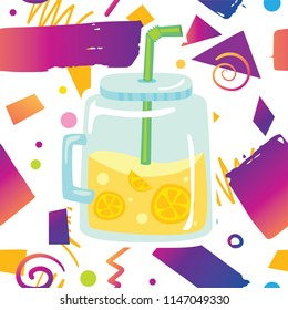 Trendy card prind design with tasty sweet fresh lemonade drink in fashion jar on hipster memphis style background pattern. Cartoon style design concept