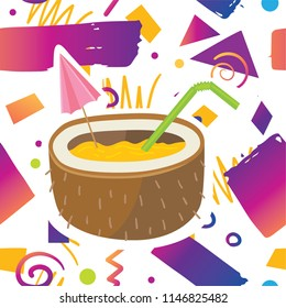 Trendy card prind design with tastyexotic  tropical cocktail drink in coconut on hipster memphis style background pattern. Cartoon style design concept