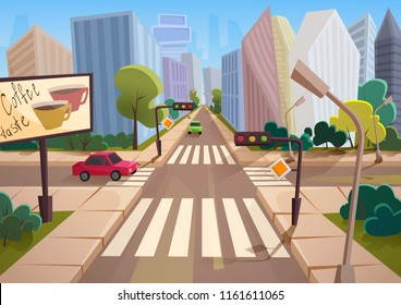 Trendy cartoon gradient style vector city with crossroad, road signs and cars.