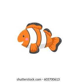 Trendy cartoon style orange clown fish  character. Simple gradient flat design for kid education. Underwater life.