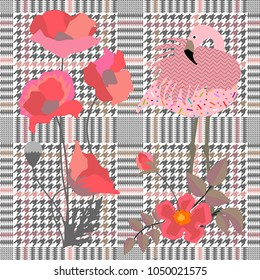 Trendy checkered  print with blooming poppies and flamingo. Seamless hounds tooth pattern with English motifs. Textile design for school uniform, plaids, scarfs. Red flower on grey background.