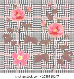 Trendy checkered  print with embroidered rose flowers. Seamless hounds tooth pattern with English motifs. Textile design for school uniform, plaids, scarfs. Red flower on grey background.