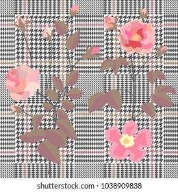 Trendy checkered  print with embroidered roses. Seamless hounds tooth pattern with English motifs. Textile design for school uniform, plaids, scarfs. Red flower on grey background.