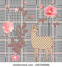 675e2e594ecc Trendy checkered print with embroidered roses and llamas. Seamless hounds  tooth pattern with English motifs