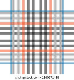 Trendy checkred print with thin stripes. Autumn textile collection. Blue, red, black, white.