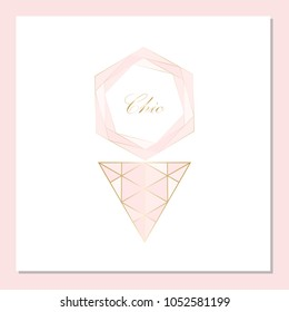 Trendy Chic pastel colored card with Gold geometric shapes. Creative elegant design for wedding invitation cards, business cards, fashion headers, posters, anniversary, birthday, save the date. Vector