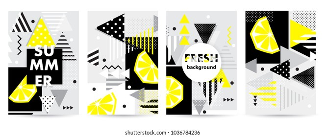 Trendy citrus pattern covers set. Design floral backgrounds for booklet, cards, invitation, brochure and promotion. Vector illustration