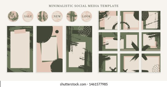 Trendy color pallette, autumn vibe templates for posts and stories for your social media. Puzzle textured background content for social network. Cute and cozy fall colors. Vector,  editable collage