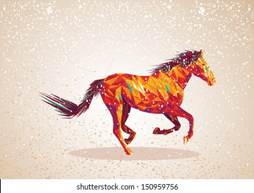 Trendy colorful abstract horse triangle shapes over grunge background. Vector file layered for easy editing.