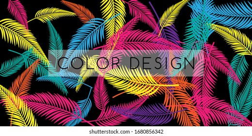 Trendy colorful background. Vector banner with texture from palm leaves.