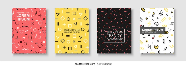 Trendy colorful brochure set with geometric shapes, memphis design - fashion retro styly 80-90s. Creative stylish posters, banners, templates, cards, covers.