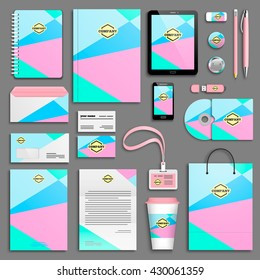 Trendy colorful Corporate identity template set. Business stationery mock-up with logo. Branding design. Colorful geometric background.