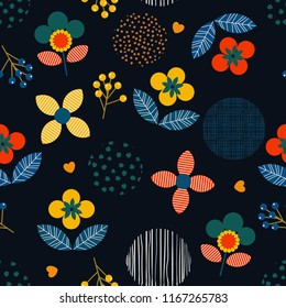 Trendy Colorful Geometric floral and hand paint polka dot and line seamless pattern in modern style. flower motif in vector illustration design for fashion,fabric and all prints on navy blue
