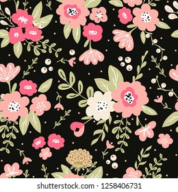 Trendy colorful seamless floral pattern with modern simple flowers on black background. Cute repeated pattern for fabric design, wallpaper,wrapping paper
