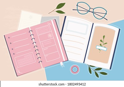 Trendy colorful set for study or work. Organizer for process planning. Stylish workbook. Supplies for successful work. Workflow process. Creative Flat Vector Illustration