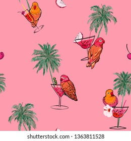 Trendy colorful tropical vacation mood in hand drawn palm trees ,parrots birds,cocktail and summer fruits seamless pattern vector on retro pink background color