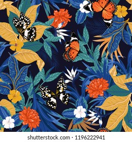 Trendy Colorful vector seamless artistic dark tropical pattern with exotic forest. Original stylish floral background print,design for fashion,fabric and all prints , bright rainbow colors on navy blu