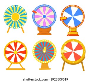 Trendy colorful wheels of fortune flat illustration collection. Cartoon spinning roulettes with prize sections isolated vector illustrations. Gambling and internet casino concept