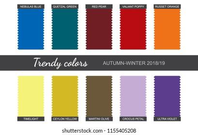 Trendy colors palette. Autumn-Winter 2018/2019. Fabric pieces. Vector illustration. Eps 10.