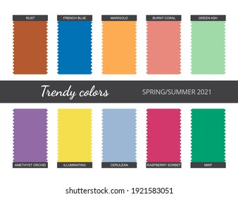 Trendy colors palette. Spring-Summer 2021. Isolated white background. Vector.