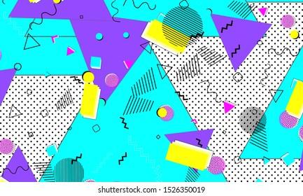 Trendy Composition. Purple Triangle Banner. Vector Flyer. Lemon Backdrop. Cartoon Template. Violet Flow Poster. Cyan Elements. Contemporary Decor.